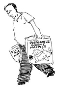 (Man carrying Disposable Income nappies)