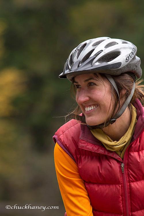 Rachel Stevens bike touring in the Kootenai National Forest, Montana, USA model released