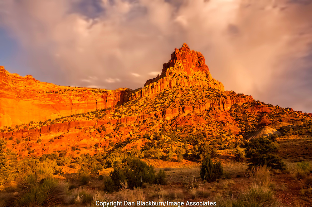 The Castle Formation Rises Above Capitol Reef National Park, Utah, at Sunset