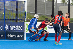 Hampstead & Westminster cannot keep out Gareth Furlong's penatly corner. Hampstead & Westminster v Surbiton - Men's Hockey League Final, Lee Valley Hockey & Tennis Centre, London, UK on 29 April 2018. Photo: Simon Parker