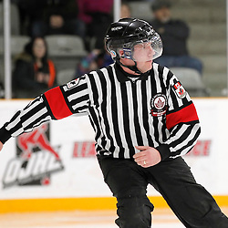 TRENTON, - Feb 4, 2016 -  Ontario Junior Hockey League game action between Newmarket and Trenton at the Duncan Memorial Gardens, ON. OHA Referee<br /> (Photo by Amy Deroche / OJHL Images)