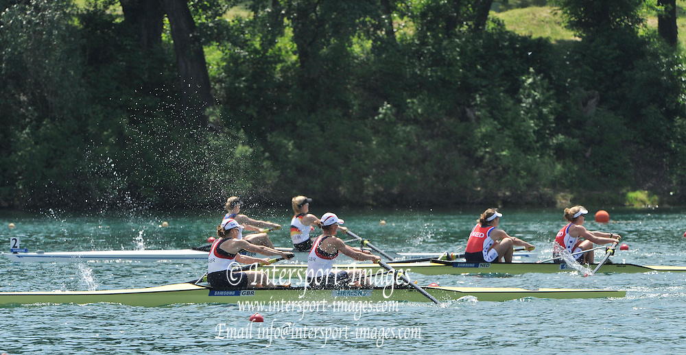 Belgrade, SERBIA.  GBR W2-, Bow Helen GLOVER and Heather STANNING, winning their semi to go through to Sunday's final of the Women's Pair. 2012 FISA World Cup I   Saturday  05/05/2012   [Mandatory Credit. Peter Spurrier/Intersport Images]