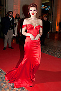 Bella Thorne Dazzles In Red Satin Bustier Gown