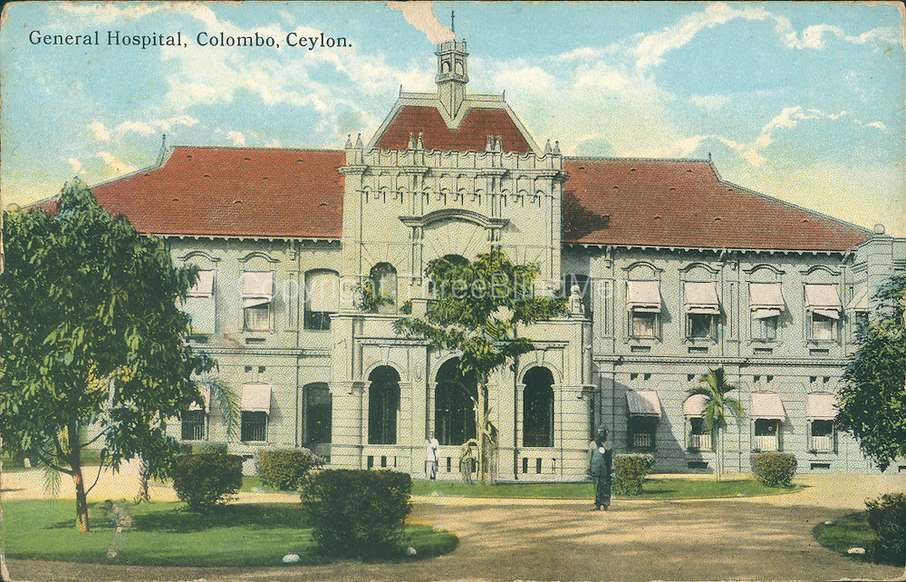 Old Post Card of Ceylon..General Hospital, Colombo.