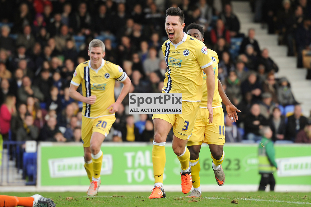 Millwalls Joe Martin celebrates his goal which puts Millwall 1-0 up during the Southend v Millwall game in the Sky Bet League 1 on the 28th December 2015.
