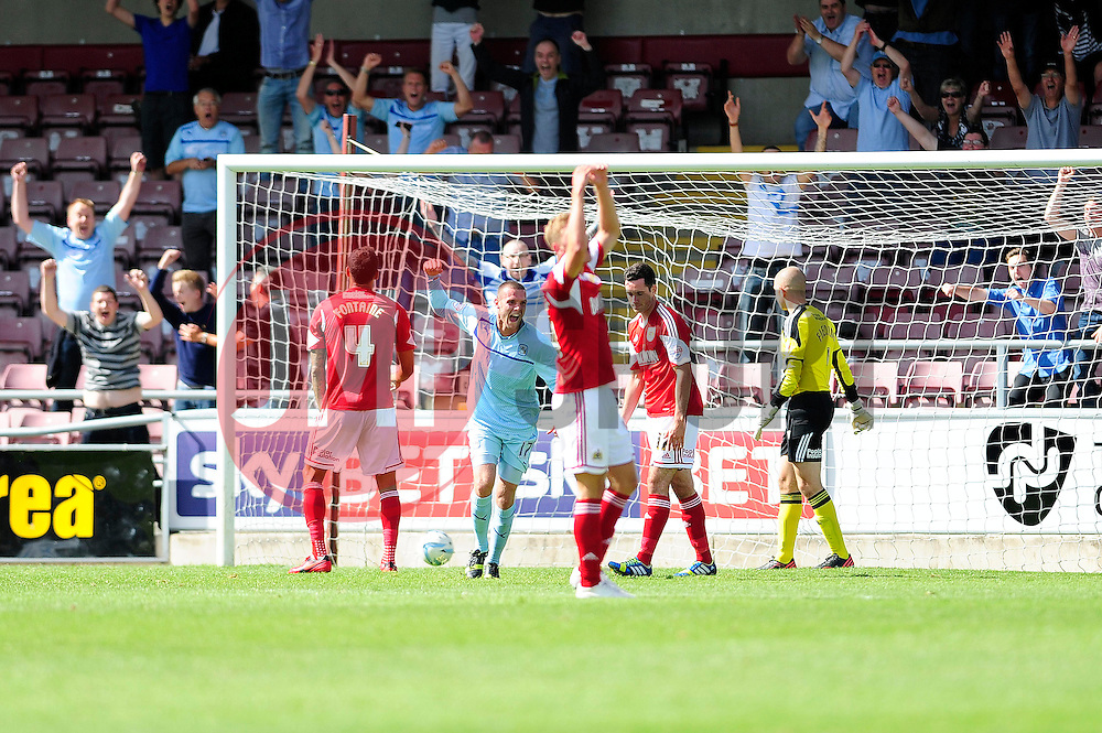Coventry City's Billy Daniels celebrates his goal. - Photo mandatory by-line: Dougie Allward/JMP - Tel: Mobile: 07966 386802 11/08/2013 - SPORT - FOOTBALL - Sixfields Stadium - Sixfields Stadium -  Coventry V Bristol City - Sky Bet League One