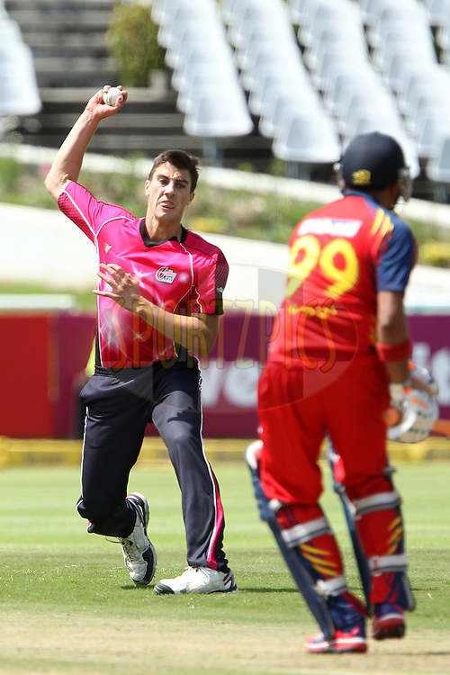 Pat Cummins reacts after bowling during match 10 of the Karbonn Smart CLT20 South Africa between The Highveld Lions and The Sydney Sixers held at Newlands Stadium in Cape Town, South Africa on the 18th October 2012..Photo by Ron Gaunt/SPORTZPICS/CLT20