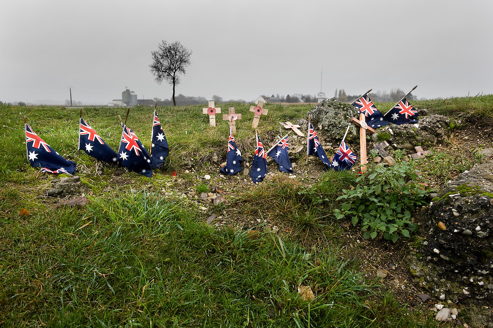Australian flags mark the spot where thousands of Australians were killed and wounded whilst attempting to capture the old windmill that the German army converted to a fortified machine-gun post. Four Australian divisions fought from the 23rd of July to the 5th of September 1916. The Battle of ‪Pozières‬ was a two week struggle (23 July – 7 August 1916) by British and Australian divisions for the capture of the village of Pozieres during  the 1916 battle of the Somme.
