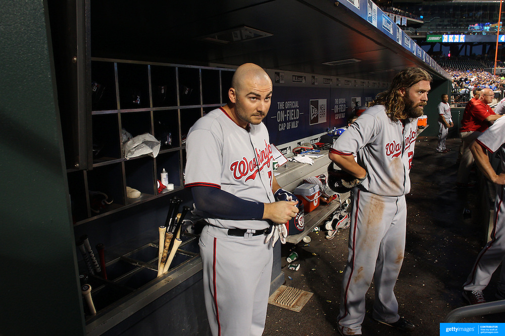 NEW YORK, NEW YORK - July 08: Clint Robinson #25 of the Washington Nationals and Jayson Werth #28 of the Washington Nationals in the dugout preparing to bat during the Washington Nationals Vs New York Mets regular season MLB game at Citi Field on July 08, 2016 in New York City. (Photo by Tim Clayton/Corbis via Getty Images)