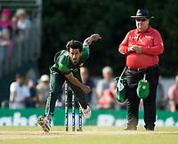 EDINBURGH, SCOTLAND - JUNE 12: Shadab Khan bowls in the first of 2 Twenty20 Internationals at the Grange Cricket Club on June 12, 2018 in Edinburgh, Scotland. (Photo by MB Media/Getty Images)