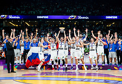 Team Slovenia celebrating at Trophy ceremony after winning during the Final basketball match between National Teams  Slovenia and Serbia at Day 18 of the FIBA EuroBasket 2017 and become Europen Champions 2017, at Sinan Erdem Dome in Istanbul, Turkey on September 17, 2017. Photo by Vid Ponikvar / Sportida