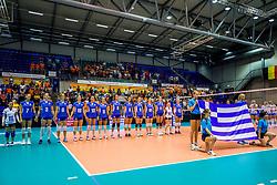 23-08-2017 NED: World Qualifications Greece - Slovenia, Rotterdam<br /> SloveniÎ wint met 3-0 / Team Griekenland<br /> Photo by Ronald Hoogendoorn / Sportida