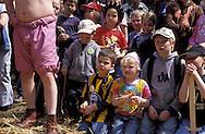 BEL, Belgium, Eastbelgium, Kelmis, Calamine, Middle Ages festival at castle Eyneburg, battle of the Vikings, children watching the games.....BEL, Belgien, Ostbelgien, Kelmis, Calamine, Mittelalter-Burgfest auf der Eyneburg, Kampf der Wikinger, Kinder schauen zu........ ..