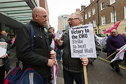 © Licensed to London News Pictures. 19/10/2017. LONDON, UK.  Royal Mail workers in the Communication Workers Union (CWU) take part in a protest march from the Trade Union Congress (TUC) Headquarters to Mount Pleasant Delivery Office as part of the long running pensions dispute.  Photo credit: Vickie Flores/LNP