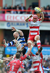 Will James (Gloucester) wins lineout ball - Photo mandatory by-line: Patrick Khachfe/JMP - Tel: Mobile: 07966 386802 12/04/2014 - SPORT - RUGBY UNION - Kingsholm Stadium, Gloucester - Gloucester Rugby v Bath Rugby - Aviva Premiership.