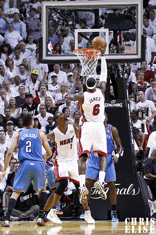 19 June 2012: Miami Heat small forward LeBron James (6) scores on an offensive rebound during the Miami Heat 104-98 victory over the Oklahoma City Thunder, in Game 4 of the 2012 NBA Finals, at the AmericanAirlinesArena, Miami, Florida, USA.
