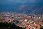 Cuzco, the ancient capital of the Inca Empire, Peru, South America viewed from above showing the Plaze de Armas and the inscription on the mountainside.