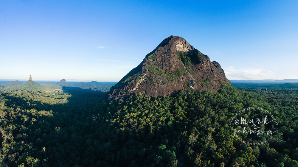 The peaks of the Glasshouse Mountains, Sunshine Coast Hinterland, Queensland, Australia.<br />