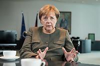 13 SEP 2017, BERLIN/GERMANY:<br /> Angela Merkel, CDU, Bundeskanzlerin, waehrend einem Interview, in Ihrem Buero, Bundeskanzlerin<br /> IMAGE: 20170917-01-009<br /> KEYWORDS: B&uuml;ro