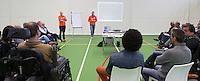 AMSTERDAM - Workshop tijdens het KNHB Symposium Train de Trainer, voor trainer, coach , begeleider binnen het aangepaste hockey. Dit alles in het Ronald MacDonald Centre in Amsterdam. COPYRIGHT KOEN SUYK