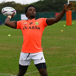 DURBAN, SOUTH AFRICA - SEPTEMBER 01: Lwazi Mvovo during the South African national rugby team training session at Peoples Park on September 01, 2015 in Durban, South Africa. (Photo by Steve Haag/Gallo Images)