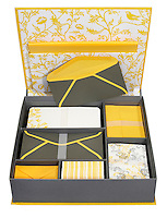 yellow, grey and white flower and bird patterned blank stationary set