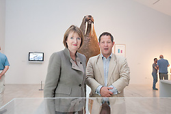 "© London News Pictures. 25/6/2013. Margate, Kent. Harriet Harman MP and John Kampfner Chairman of Turner Contemporary   stands in front of the Horniman Museum walrus.Today Harriet Harman MP, Labour's Deputy Leader and Shadow Secretary of State for Culture, Media and Sport, visits Margate where she was given a tour of Turner Contemporary before meeting staff and local businesses in the ""Curious Margate"" project. Picture credit Manu Palomeque/LNP"