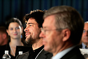 Manhattan, NY, USA, September 17th 2005:  The Prime Minister of Norway, Kjell Magne Bondevik during a panel discussion at the inauguration meeting of the Clinton Global Initiative.<br /> <br /> Bondevik next to actor and activist Brad Pitt<br /> <br /> Photo: Orjan F: Ellingvag/ Dagbladet *** Local Caption ***