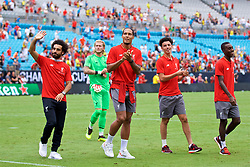 CHARLOTTE, USA - Sunday, July 22, 2018: Liverpool's Mohamed Salah, Virgil van Dijk and Curtis Jones after a preseason International Champions Cup match between Borussia Dortmund and Liverpool FC at the  Bank of America Stadium. (Pic by David Rawcliffe/Propaganda)