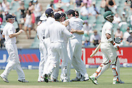 Graeme Swann celebrates the wicket of Jean Paul (JP) Duminy  during day 3 of the 4th Castle Test between South Africa and England held at The Bidvest Wanderers Stadium in Johannesburg, South Africa on the 16 January 2010.Photo by:  Ron Gaunt/SPORTZPICS