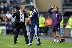 Derby County Manager, Steve McClaren and Derby County's first-team coach, Paul Simpson cut dejected figures as they let a 1 - 0 lead slip - Photo mandatory by-line: Dougie Allward/JMP - Mobile: 07966 386802 30/08/2014 - SPORT - FOOTBALL - Derby - iPro Stadium - Derby County v Ipswich Town - Sky Bet Championship