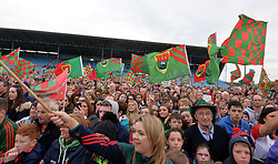 Mayo fans at the team&rsquo;s homecoming in McHale park yesterday.<br /> Pic Conor McKeown