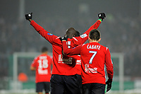 FOOTBALL - FRENCH CHAMPIONSHIP 2010/2011 - L1 - LILLE OSC v AS SAINT ETIENNE - 22/12/2010 - PHOTO JEAN MARIE HERVIO / DPPI - MOUSSA SOW (LILLE) CELEBRATES HIS GOAL WITH YOHAN CABAYE