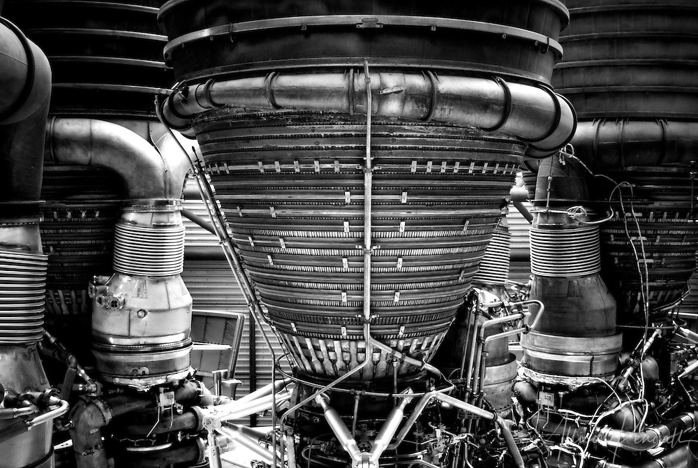 Detail of the Saturn V rocket engines, Stage S-IC, on display at the Kennedy Space Center in Florida