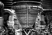 Detail of the Saturn V rocket engines, Stage S-IC, on display at the Kennedy Space Center in Florida<br />