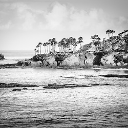 Laguna Beach California black and white picture. Laguna Beach is a Southern California beach city along the Pacific Ocean in the United States