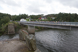 The peloton rides over the first of many bridges of Stage 2 of the Ladies Tour of Norway - a 140.4 km road race, between Sarpsborg and Fredrikstad on August 19, 2017, in Ostfold, Norway. (Photo by Balint Hamvas/Velofocus.com)