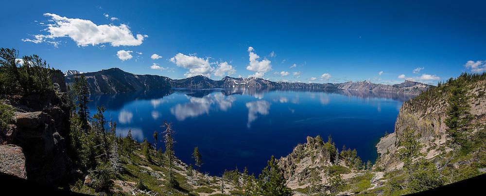 Panorama of Crater Lake in Oregon