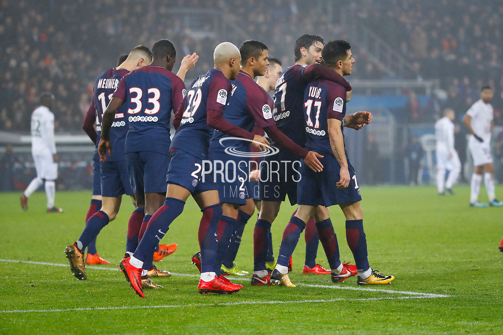 Yuri Berchiche (PSG) scored a goal against Remy VERCOUTRE (SM Caen) and celebrated it with Javier Matias Pastore (psg), Thiago Silva (PSG), Kylian Mbappe (PSG), Thomas Meunier (PSG), Neymar da Silva Santos Junior - Neymar Jr (PSG), Giovani Lo Celso (PSG) during the French Championship Ligue 1 football match between Paris Saint-Germain and SM Caen on December 20, 2017 at Parc des Princes stadium in Paris, France - Photo Stephane Allaman / ProSportsImages / DPPI