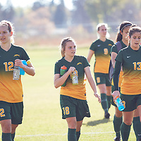 3rd year defender, Lauren Petras (12) of the Regina Cougars during the Women's Soccer away game on Sat Oct 06 at Universtity of Saskatchewan . Credit: Arthur Ward/Arthur Images