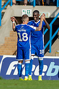 Gillingham FC forward Mikael Ndjoli  (10) scores a penalty goal and celebrates with team mate Gillingham FC midfielder Mark Byrne (18) during the EFL Sky Bet League 1 match between Gillingham and Wycombe Wanderers at the MEMS Priestfield Stadium, Gillingham, England on 14 September 2019.