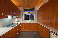Timber interior of small residential kitchen