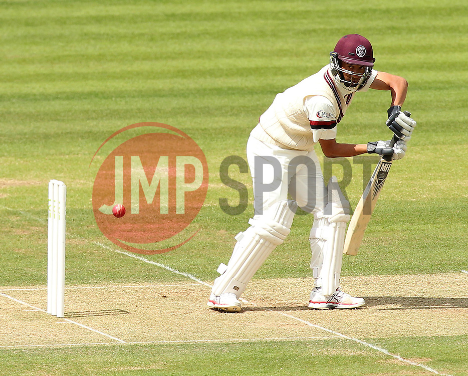 Somerset's Alfonso Thomas defends - Photo mandatory by-line: Robbie Stephenson/JMP - Mobile: 07966 386802 - 22/06/2015 - SPORT - Cricket - Southampton - The Ageas Bowl - Hampshire v Somerset - County Championship Division One