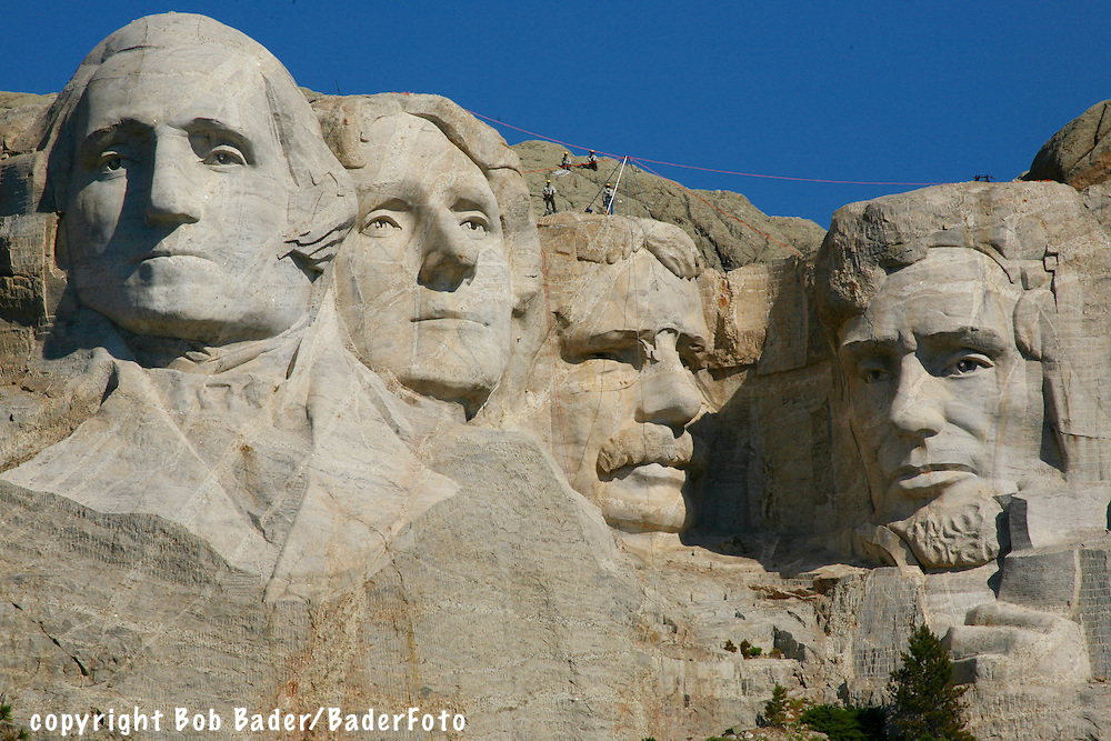 Mount Rushmore, Gutzon Borglum's carving of President's Washington, Jefferson Theodore Roosevelt, and Abraham Lincoln in Mt. Rushmore National Park near Rapid City, South Dakota