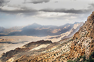 A view of surrounding mountains at Wadi Mistal in the Wilayat of Nakhal, Oman. <br /> One  of the most spectacular mountain village in the wadi is Wukan village.