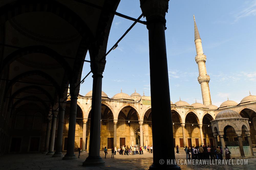 The main interior courtyard of Istanbul's Blue Mosque. Sultan Ahmed Mosque (Turkish: Sultanahmet Camii) known popularly as the Blue Mosque is a Muslim (Sunni) Mosque in the center of Istanbul's old town district of Sultanahmet. It was commissioned by Sultan Ahmed I and completed in 1616,