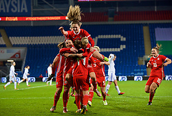 CARDIFF, WALES - Friday, November 24, 2017: Wales' Hayley Ladd [#14] celebrates scoring the first winning goal with team-mates Natasha Harding, Jessica Fishlock and Chloe Chivers during the FIFA Women's World Cup 2019 Qualifying Round Group 1 match between Wales and Kazakhstan at the Cardiff City Stadium. (Pic by David Rawcliffe/Propaganda)