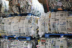Stacks of newspaper at Ollerton recycling plant,