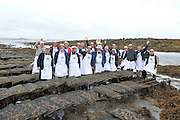 08/09/2013 Singing to the Oysters<br /> <br /> To help wake the Native Oysters from their beds &quot;The Brook Singers&quot;, a male voice choir from Dublin, accompanied by Peter Caviston of Caviston's Food Emporium in Glasthule called to Kelly Oysters in inner Galway Bay.<br /> September is a busy month for the Native Oysters which have just come back into season.<br /> The singers will help the oysters prepare for the upcoming Galway international Oyster Festival at the end of the Month . As well as supplying the Oyster Festivals, Kelly Oysters supply oysters throughout Ireland and around the world.<br /> Last season these much sought after delicacies were exported to 14 different countries.   Photo: Andrew Downes