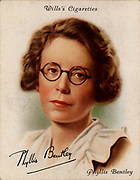 Phyllis Bentley (1894-1977) born in Halifax, Yorkshire, British critic and novelist. Her regional novels are set against the background of the West Riding of Yorkshire. From a series of cards of 'Famous British Authors' (London, 1937).
